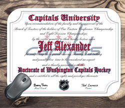 Washington Capitals Ultimate Hockey Fan Personalized Diploma Mouse Pad