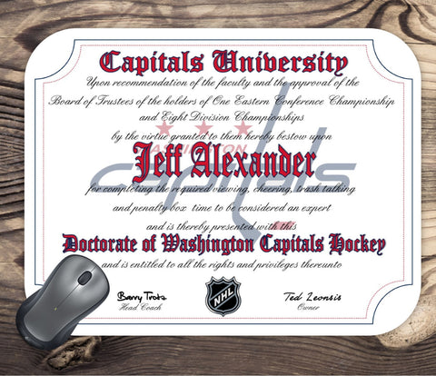 Washington Capitals Ultimate Hockey Fan Personalized Diploma - Mouse Pad - Perfect Gift
