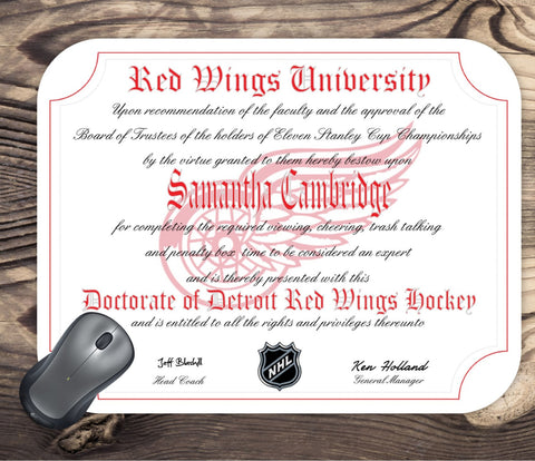 Detroit Red Wings Ultimate Hockey Fan Personalized Diploma Mouse Pad