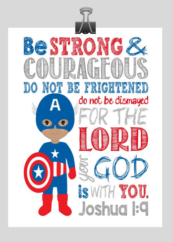 Perfect African American Superhero Wall Art   Christian Print Captain America  Nursery Decor   Be Strong U0026