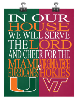 A House Divided - Miami Hurricanes & Virginia Tech Hokies - Christian sports art -multiple sizes