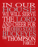 In Our House We Will Serve The Lord And Cheer for The Ohio State Buckeyes personalized print - Christian gift sports art - multiple sizes