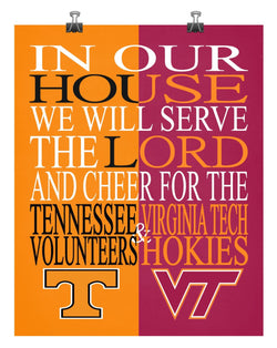 A House Divided - Tennessee Volunteers & Virginia Tech Hokies - Christian Sports Print