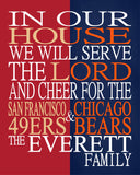 A House Divided - San Francisco 49ers & Chicago Bears Personalized Family Name Christian Print