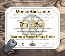 Boston Bruins Ultimate Hockey Fan Personalized Diploma - Mouse Pad - Perfect Gift