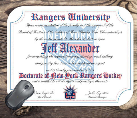 New York Rangers Ultimate Hockey Fan Personalized Diploma - Mouse Pad - Perfect Gift