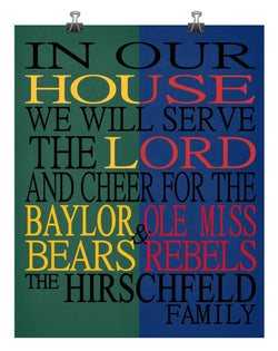 A House Divided - Baylor Bears & Ole Miss Rebels Personalized Family Name Christian Print
