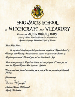 Personalized Harry Potter Acceptance Letter - Hogwarts School of Witchcraft and Wizardry - Digital Download