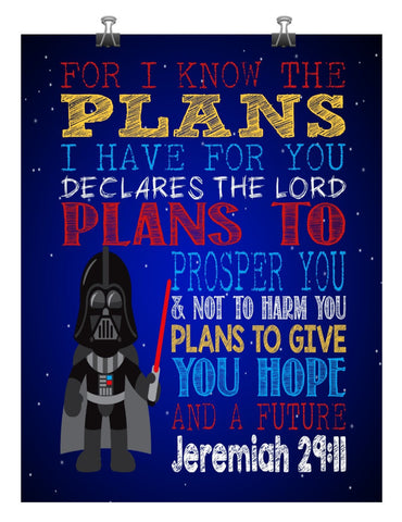 Darth Vader Christian Star Wars Nursery Decor Art Print - For I Know The Plans I Have For You, Jeremiah 29:11