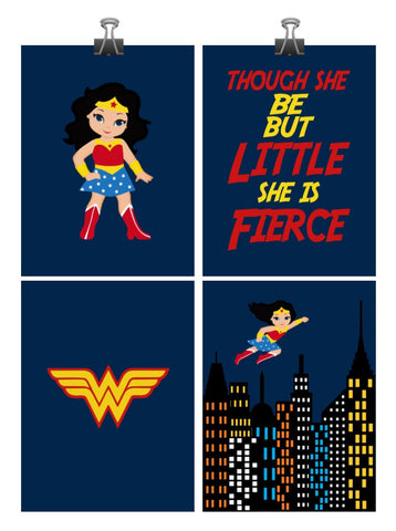Wonder Woman Superhero Art Print Set of 4 - Though She be but Little She is Fierce Nursery Decor