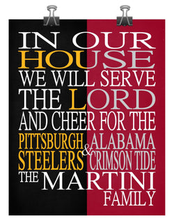 A House United Pittsburgh Steelers & Alabama Crimson Tide Personalized Family Name Christian Print