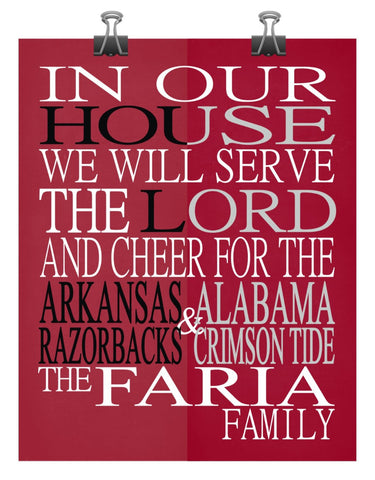 A House Divided - Arkansas Razorbacks & Alabama Crimson Tide personalized family poster Christian gift sports art