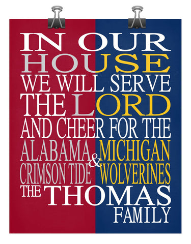 A House Divided - Alabama Crimson Tide & Michigan Wolverines Personalized Family Name Christian Print