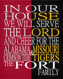 A House Divided - Alabama Crimson Tide & Missouri Tigers personalized family poster Christian gift sports art -multiple sizes