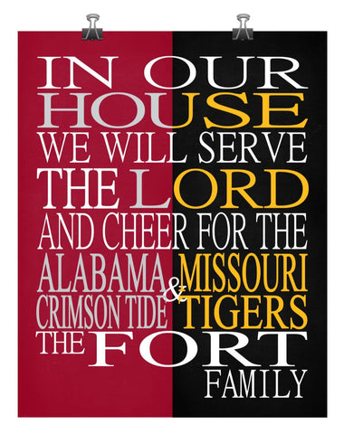 A House Divided - Alabama Crimson Tide & Missouri Tigers Personalized Family Name Christian Print