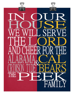A House Divided - Alabama Crimson Tide & Cal Bears personalized family poster Christian Sports Art