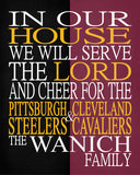 A House Divided - Pittsburgh Steelers & Cleveland Cavaliers Personalized Family Name Christian Print