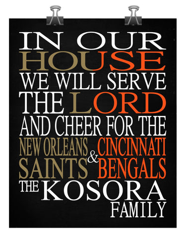 A House Divided - New Orleans Saints & Cincinnati Bengals Personalized Family Name Christian Print