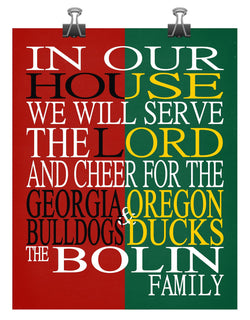 A House Divided - Georgia Bulldogs & Oregon Ducks Personalized Family Name Christian Print