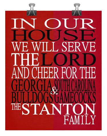 A House Divided - Georgia Bulldogs & South Carolina Gamecocks Personalized Family Name Christian Print