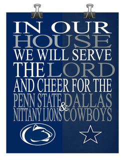 A House Divided - Penn State Nittany Lions & Dallas Cowboys Personalized Family Name Christian Print
