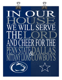 A House Divided - Penn State Nittany Lions & Dallas Cowboys poster Christian gift sports art print -multiple sizes