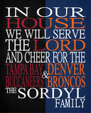 A House Divided - Tampa Bay Buccaneers & Denver Broncos Personalized Family Name Christian Print
