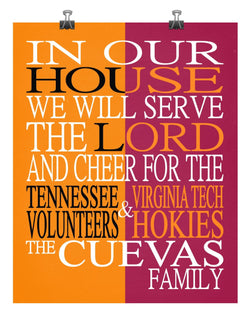 A House Divided - Tennessee Volunteers & Virginia Tech Hokies  Personalized Family Name Christian Print