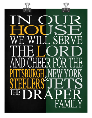 A House Divided - Pittsburgh Steelers & New York Jets Personalized Family Name Christian Print