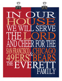 A House Divided - San Francisco 49ers & Chicago Bears personalized family poster Christian gift sports art -multiple sizes
