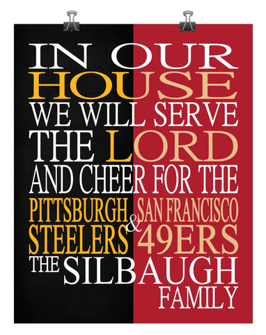 A House Divided - Pittsburgh Steelers and San Francisco 49ers Personalized Family Name Christian Print