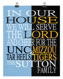 A House Divided UNC Tar Heels & Mizzou Tigers Personalized Family Name Christian Print