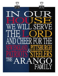 A House Divided New England Patriots & Pittsburgh Steelers Personalized Christian Print - Perfect Gift, football sports art - multiple sizes