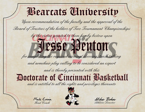 "Cincinnati Bearcats Ultimate Basketball Fan Personalized Diploma - 8.5"" x 11"" Parchment Paper"