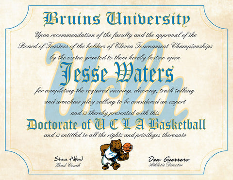 "UCLA Bruins Ultimate Basketball Fan Personalized Diploma - Perfect Gift - 8.5"" x 11"" Parchment Paper"