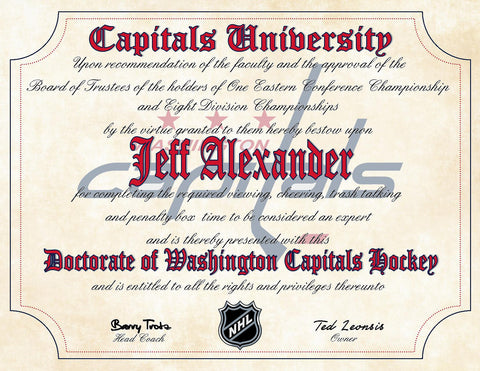 "Washington Capitals Ultimate Hockey Fan Personalized Diploma - 8.5"" x 11"" Parchment Paper"