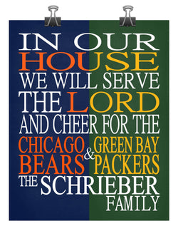 A House Divided - Chicago Bears & Green Bay Packers Personalized Family Name Christian Print