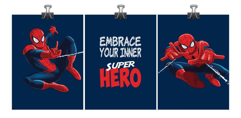 Spiderman Superhero Art Print Set of 3 - Embrace your inner Super Hero - Nursery Playroom or Kids Room Decor