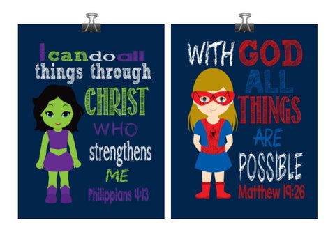Christian Superhero Nursery Decor Art Print Set of 2 - Hulk girl and Spider girl