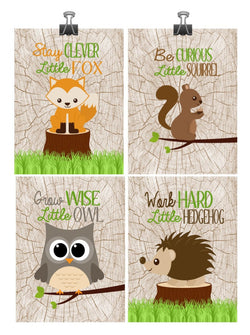 Woodland Nursery Art Print Set of 4 - Stay Clever, Be Curious, Grow Wise, Work Hard - Multiple Sizes