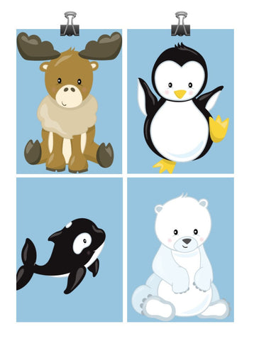 Arctic Animals Nursery Art Print Set Of 4 Moose Penguin