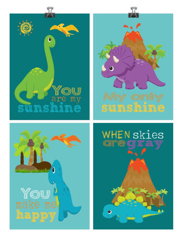 Dinosaur Nursery Decor Set of 4 - You are my sunshine my only sunshine - Multiple Sizes