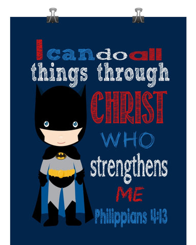 Batman Superhero Christian Nursery Decor Art Print - I Can Do All Things Through Christ Who Strengthens Me - Philippians 4:13