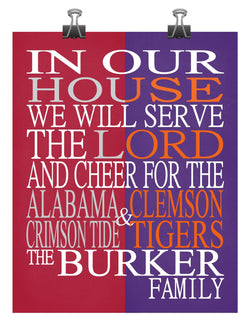 A House Divided - Alabama Crimson Tide & Clemson Tigers personalized family poster Christian gift sports art -multiple sizes