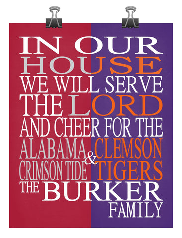 A House Divided - Alabama Crimson Tide & Clemson Tigers Personalized Family Name Christian Print