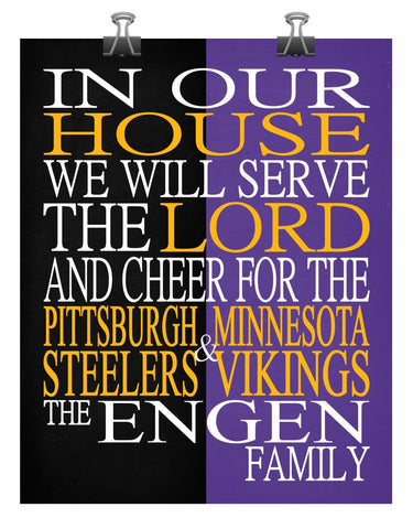 A House Divided - Pittsburgh Steelers & Minnesota Vikings Personalized Family Name Christian Print