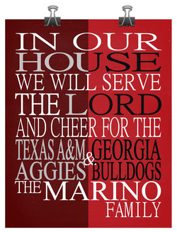 A House Divided - Texas A&M Aggies and Georgia Bulldogs Personalized Family Name Christian Print