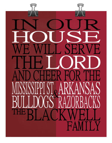 A House Divided - Mississippi State Bulldogs & Arkansas Razorbacks Personalized Family Name Christian Print