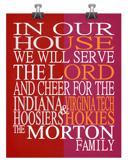 A House Divided - Indiana Hoosiers & Virginia Tech Hokies personalized family poster Christian gift sports art -multiple sizes