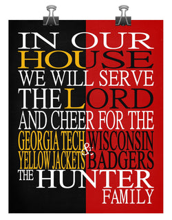 A House Divided - Georgia Tech Yellow Jackets & Wisconsin Badgers personalized family poster Christian gift sports art -multiple sizes
